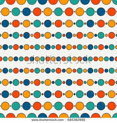 Seamless pattern with repeated horizontal lines and circles - lines paper