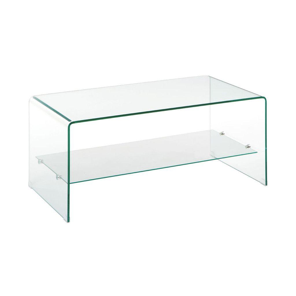 Matrix Coffee Table, 2 Tier Bent Glass