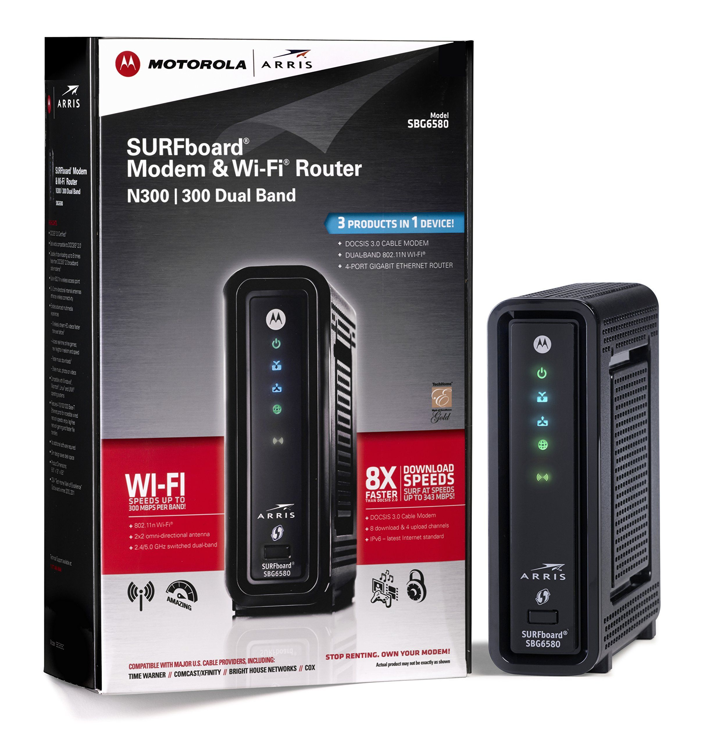 Arris Surfboard Sbg6580 Docsis 3 0 Cable Modem Wi Fi N Router Retail Packaging Black Modem Router Cable Modem Dual Band Router