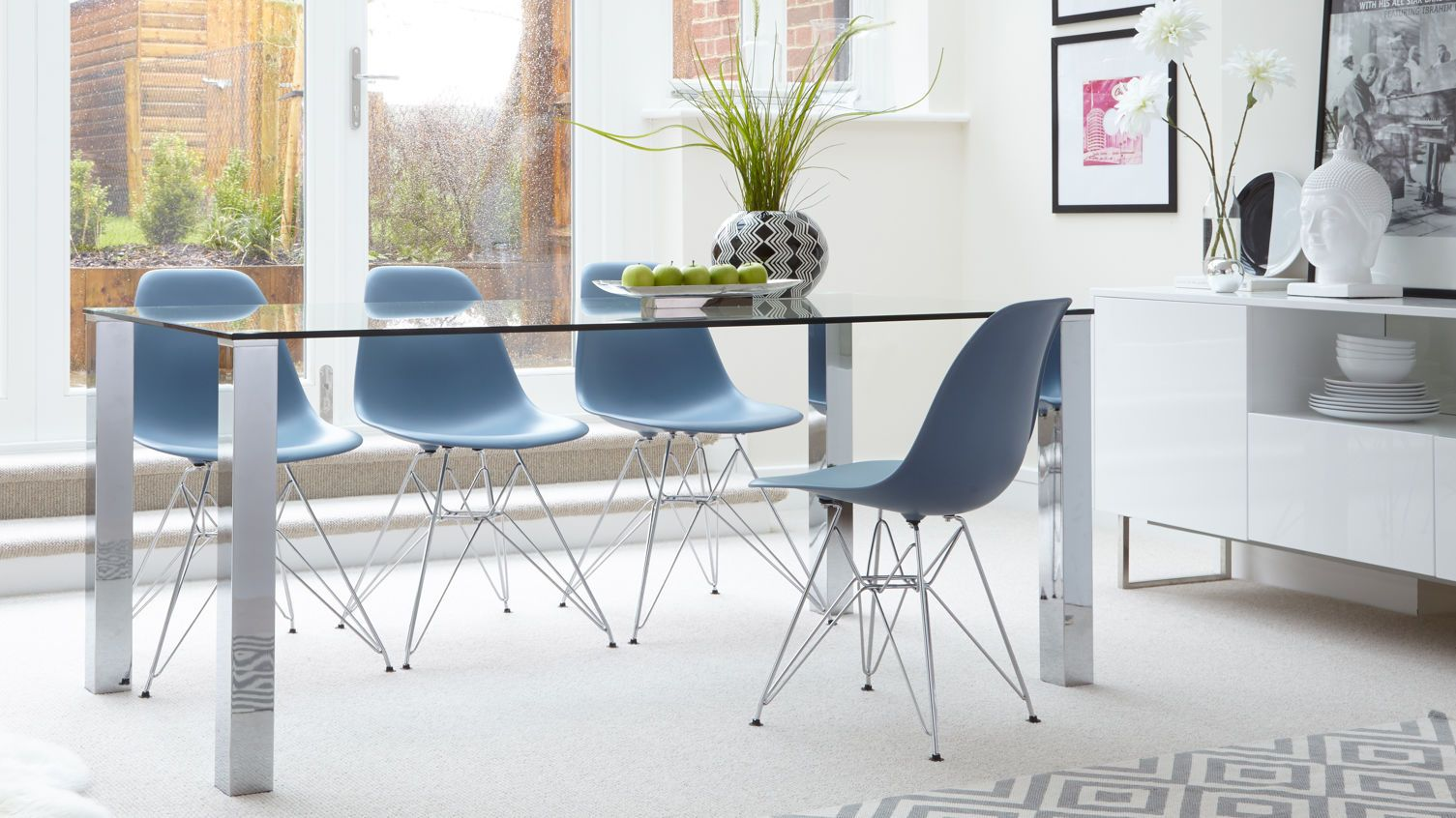 Image result for chrome legs brown wood tables | comedores modernos ...