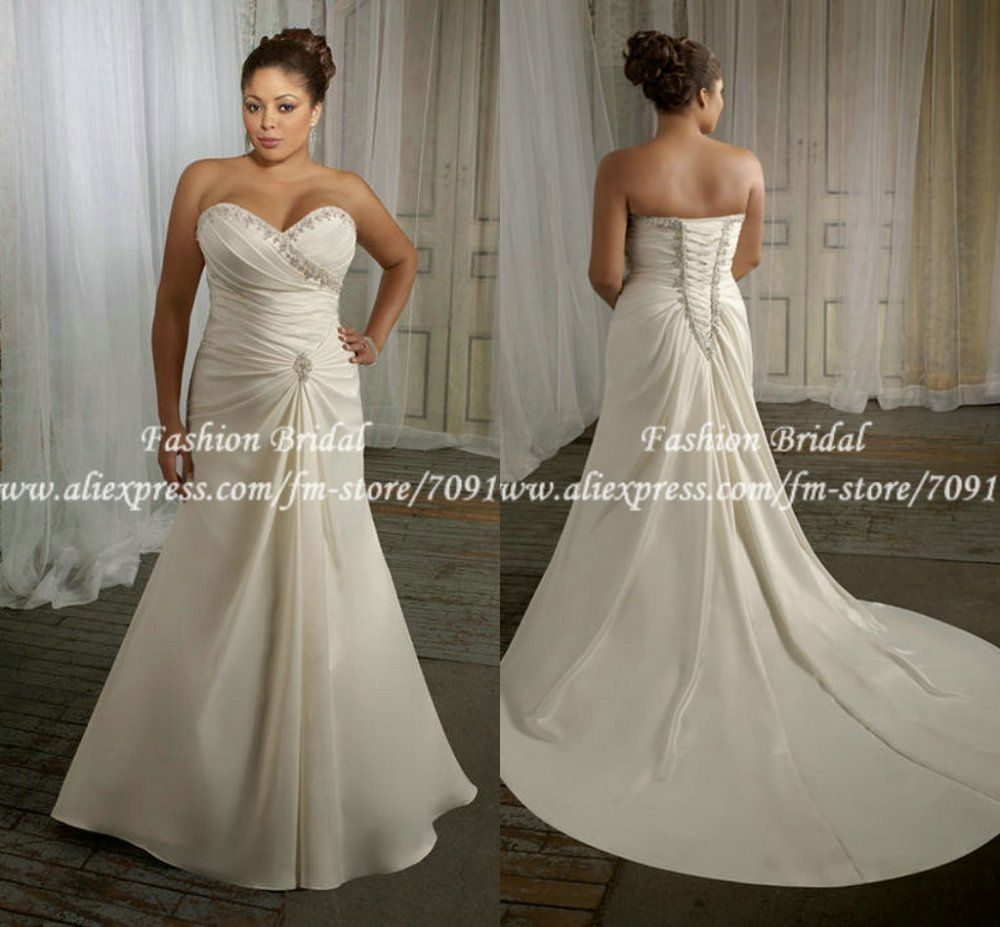 Twd182 Sweetheart Pleated Applique A Line Long Bridal Plus Size