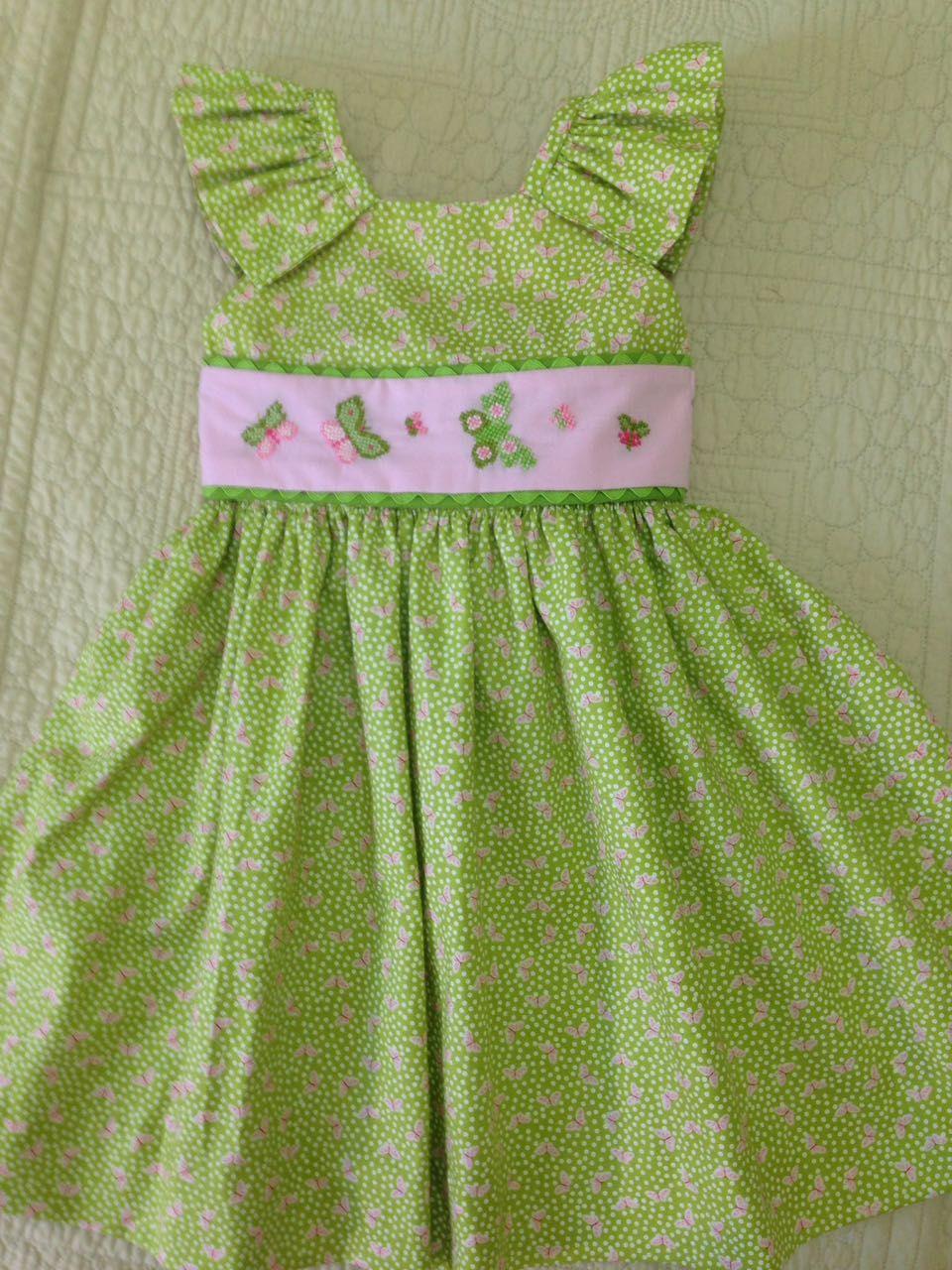 Vestido Con Manguita Tipo Angel Y Bordado Con Maripositas En Punto De Cruz Moda Para Ninas Vestidos Para Bebes Ropa Infantil Para Nina