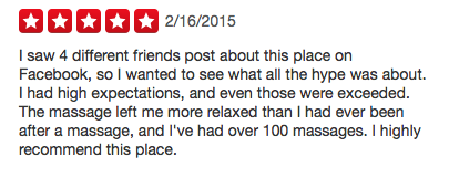 We Love Hearing Positive Feedback From Our Customer Yelp Massagesway 5stars Massage Yelp Reviews High Expectations Yelp