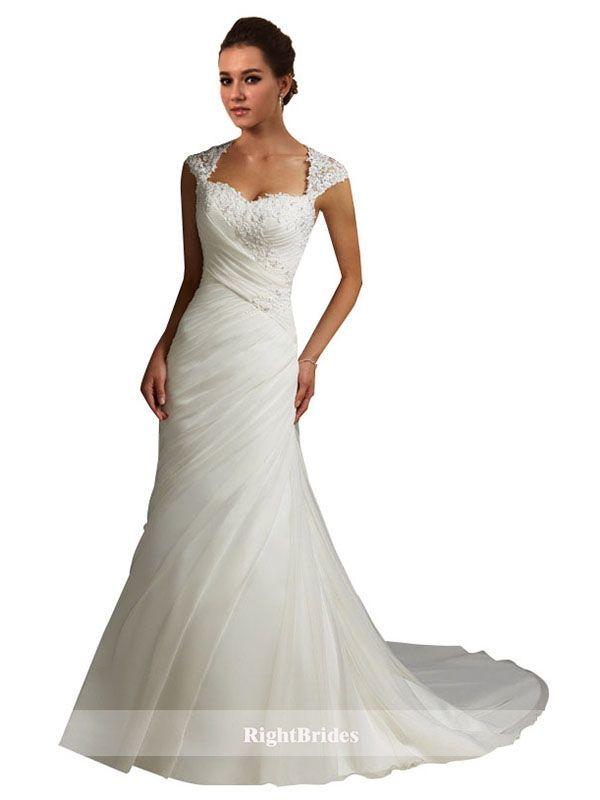 Brides Perth | Shop 2018 A-Line Sweetheart Chapel Train Cap Sleeves ...