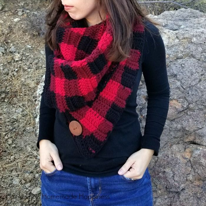 Buffalo Check Cowl Crochet Pattern