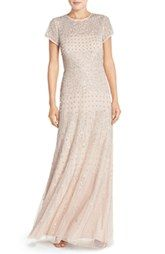 Adrianna Papell Embellished Mesh Gown (Regular & Petite)