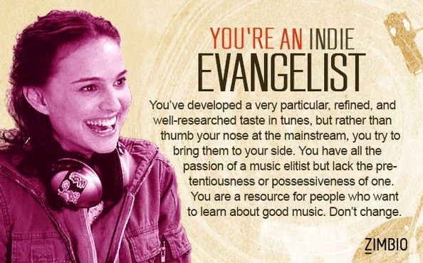 I took the music elitist quiz and have be classified as an indie evangelist. What about you? #ZimbioQuiz