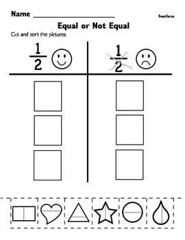 this worksheet allows students to sort items that are divided in  this worksheet allows students to sort items that are divided in half and  not half i would first give each child whole group a diecut shape with  a line