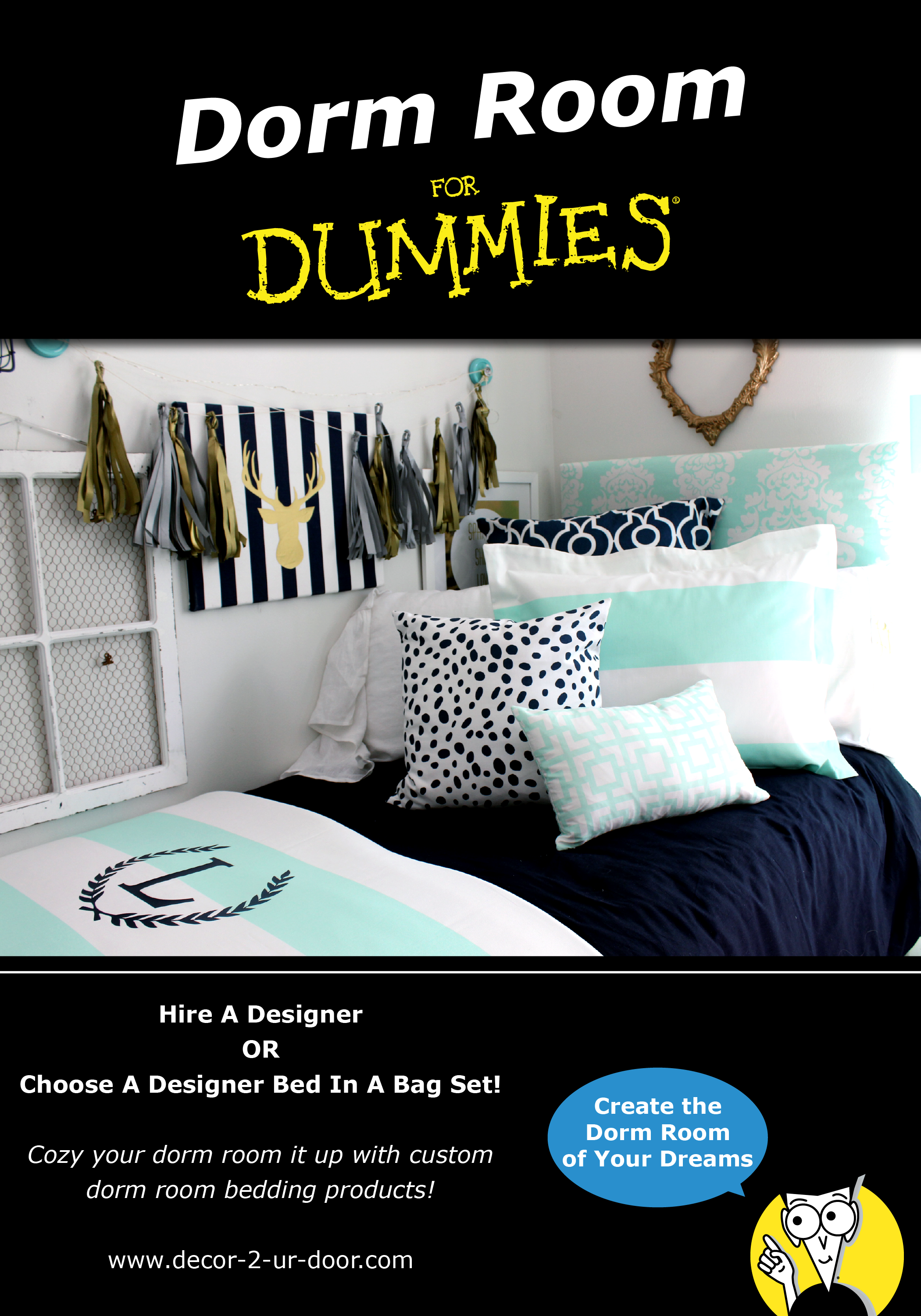 Design Your Own Dorm Room: Preppy Gray Dorm Room Bedding