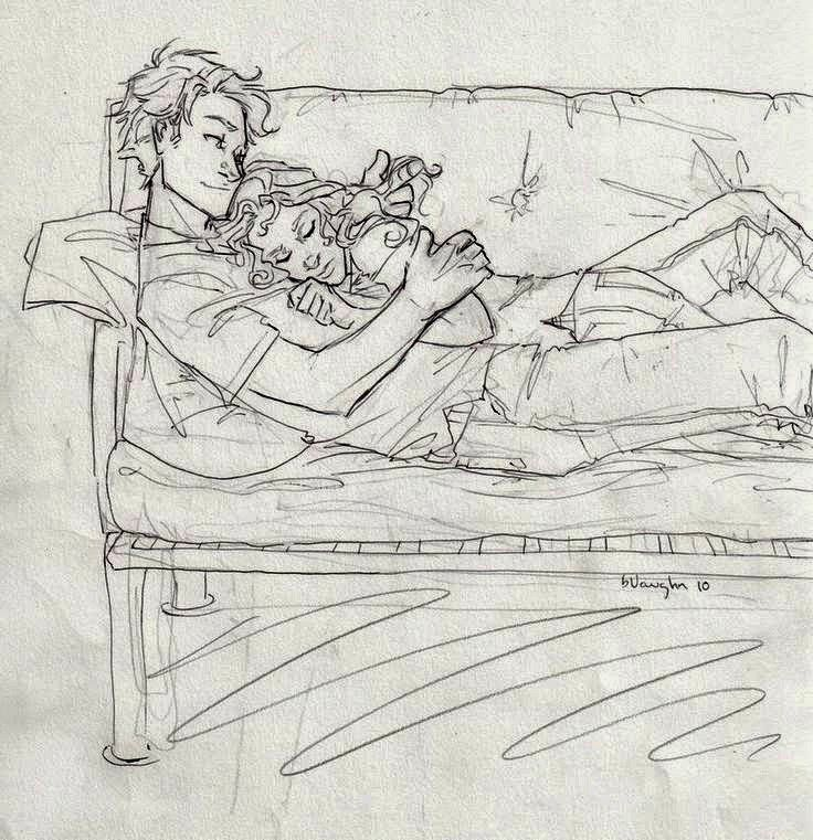 Pencil Sketches Of Couples and Friends Sleeping ~ ZiZinG Part-4