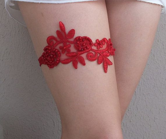 Red Lace Wedding Garter Crystal Beaded Garters Ivory Free Ship