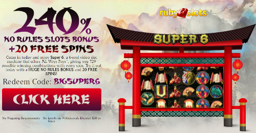 BIGSUPER6 No Rules Bonus Coupon with added free spins