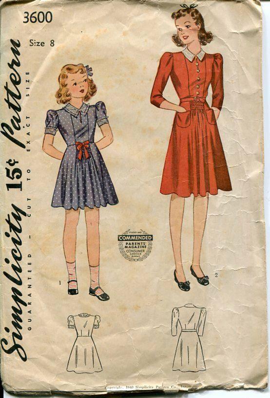 anni quaranta ragazze Dress Pattern semplicità 3600 Sz 8 seno 26 ragazze tutti i giorni abito Puff maniche raccolte gonna tasche di PengyPatterns su Etsy https://www.etsy.com/it/listing/185367323/anni-quaranta-ragazze-dress-pattern