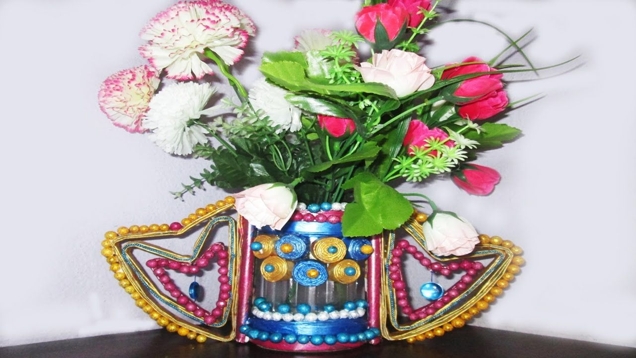 newspaper flower vase making best out of waste with - Flower Vase
