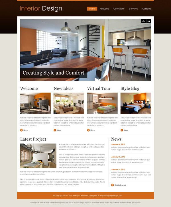 Interior design attractive and appealing website template design psd - interior design web template