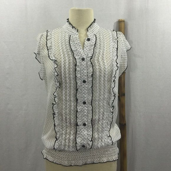 Maurices Button Down Sheer Career Blouse Maurices Button Down Sheer Career Blouse. Size large. 100% polyester. Made in China. Machine wash. Line dry. Maurices Tops Button Down Shirts