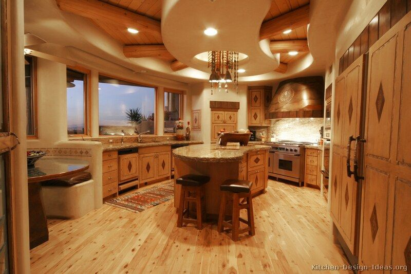 rustic santa fe style kitchen adobe walls inlaid cabinets kitchen ...