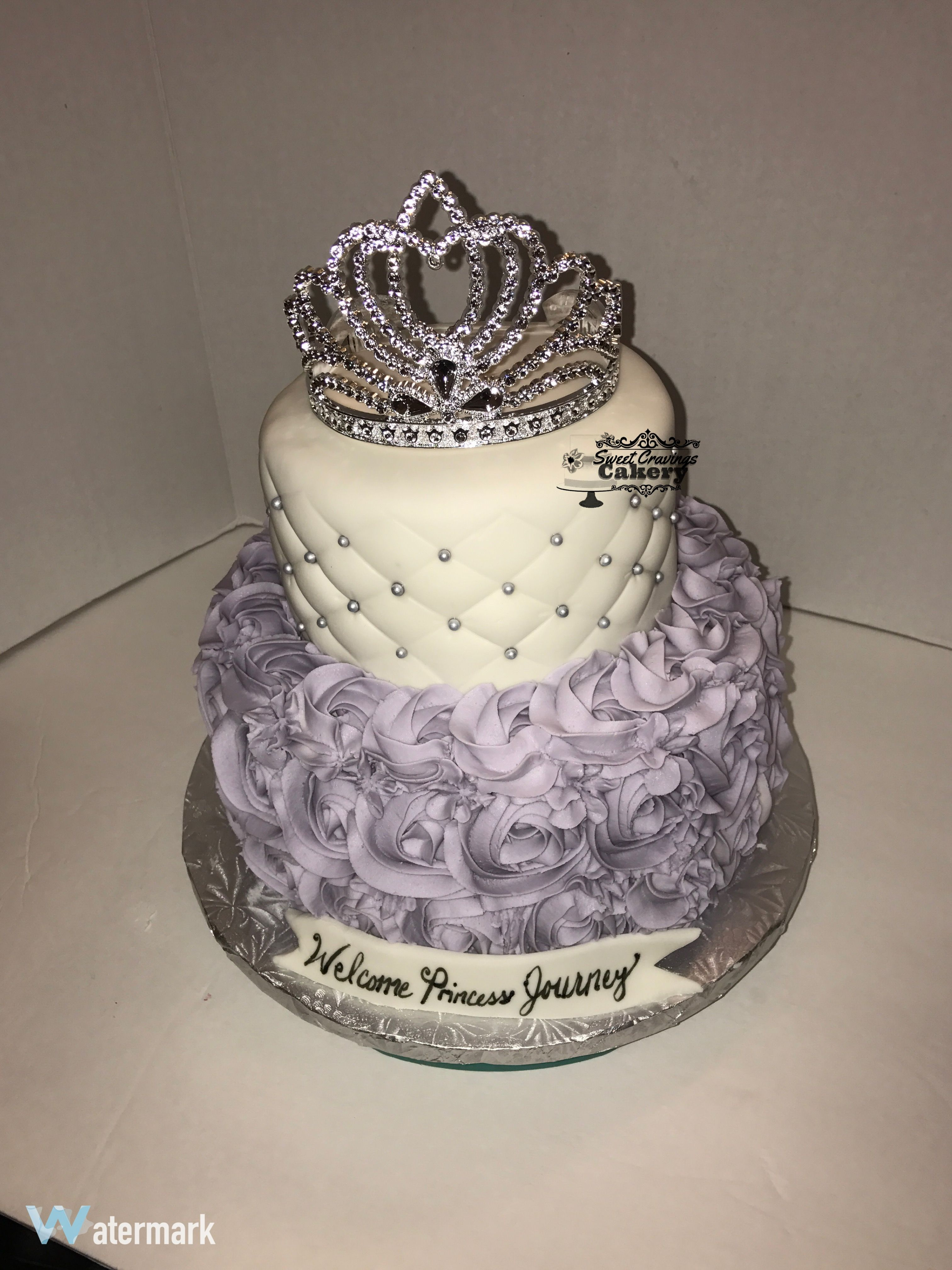 White And Lavender Rosette Cake With Princess Tiara In
