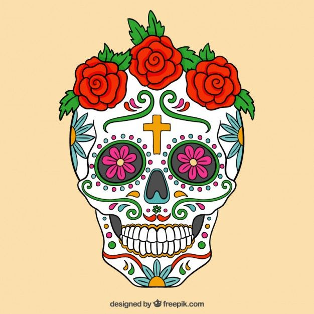 Colorful sugar skull with roses Free Vector  8858caaa894