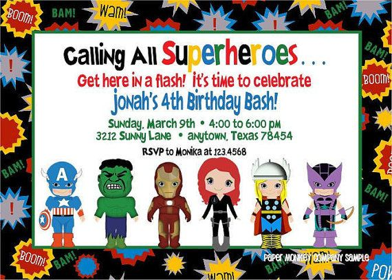 Avengers Superhero Birthday Invitations With By Papermonkeycompany 100