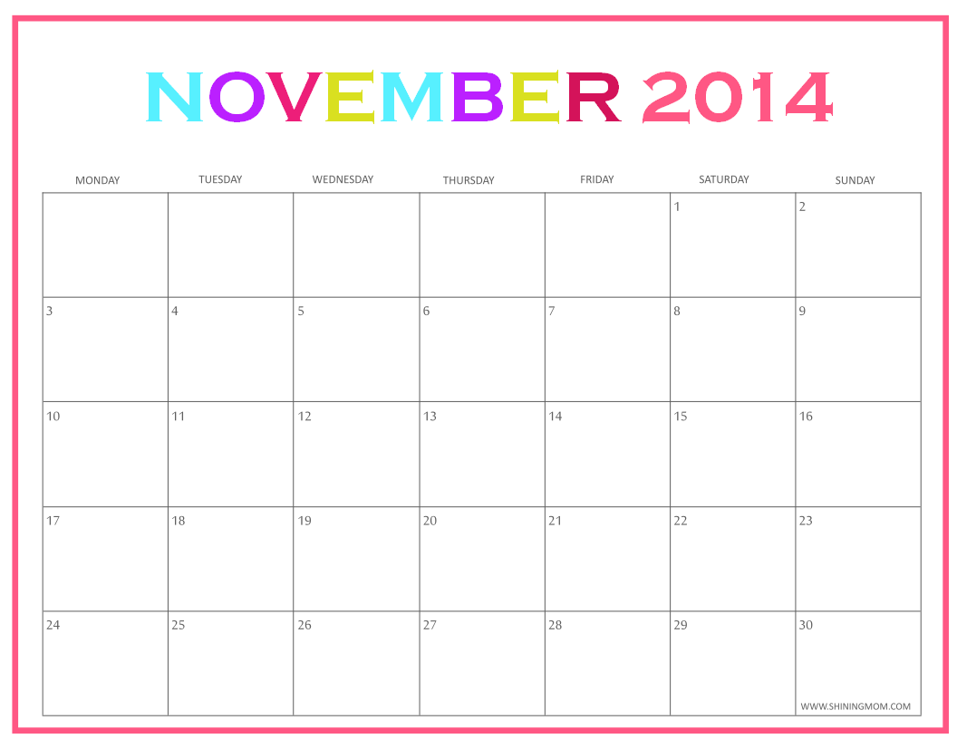 Free Printable November Calendars By