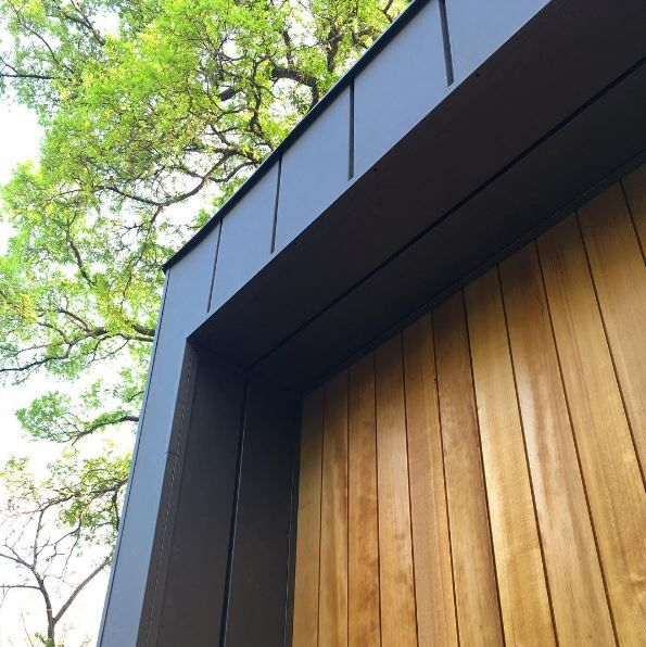 Metal Siding Raised Soffit Panel With Offset Gap In Paint Grip Finish Wood Clear Vertical Grain Hemlock Siding Metal Siding Wood Finish Siding