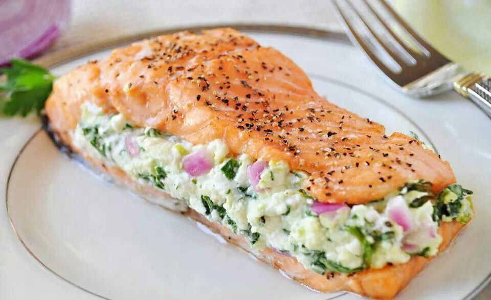 OMG feta cheese stuffed salmon!