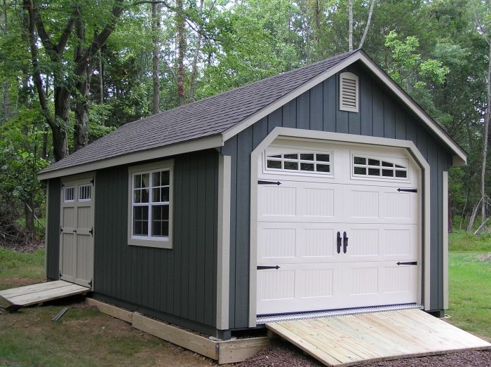 Nice Garden Shed Garage #2: Garden Shed Garage With Transom Double Doors, Gable Vents, Ramps, And  Heritage Garage Door