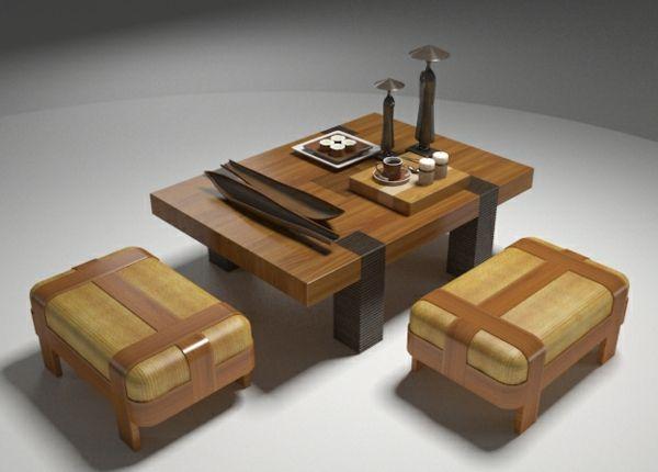 deux tabourets japonais et une table - Table Japonaise Basse