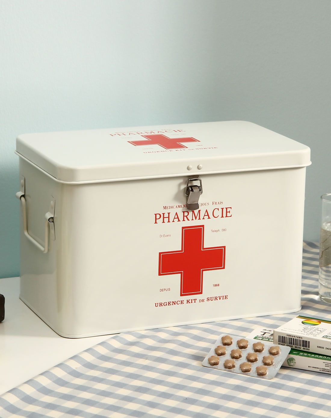 Hallway key storage  Medicine Storage Box With Lock Large Size White White Orange