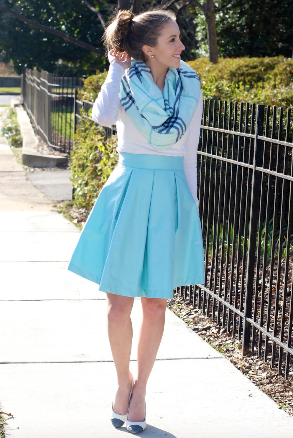 Mint Blanket Scarf New Frill Skirt
