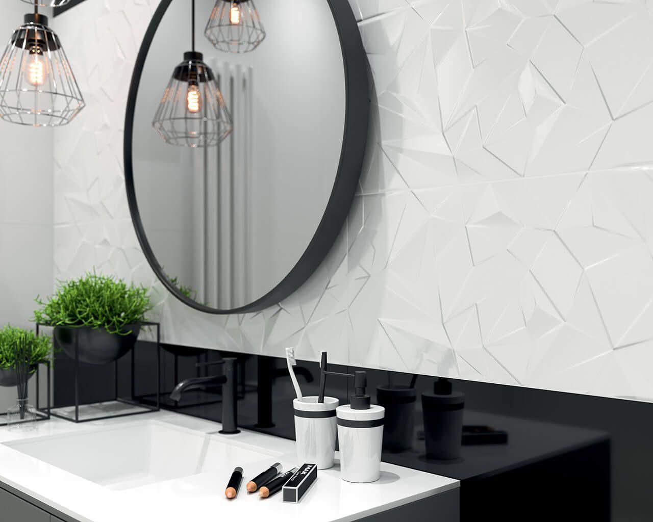 Synergy Nowoczesna Faktura I Minimalistyczne Wzor Symetry Nowoczesne Szarosci I Kremowe Barwy Ceramika P White Bathroom Black White Bathrooms House Tiles