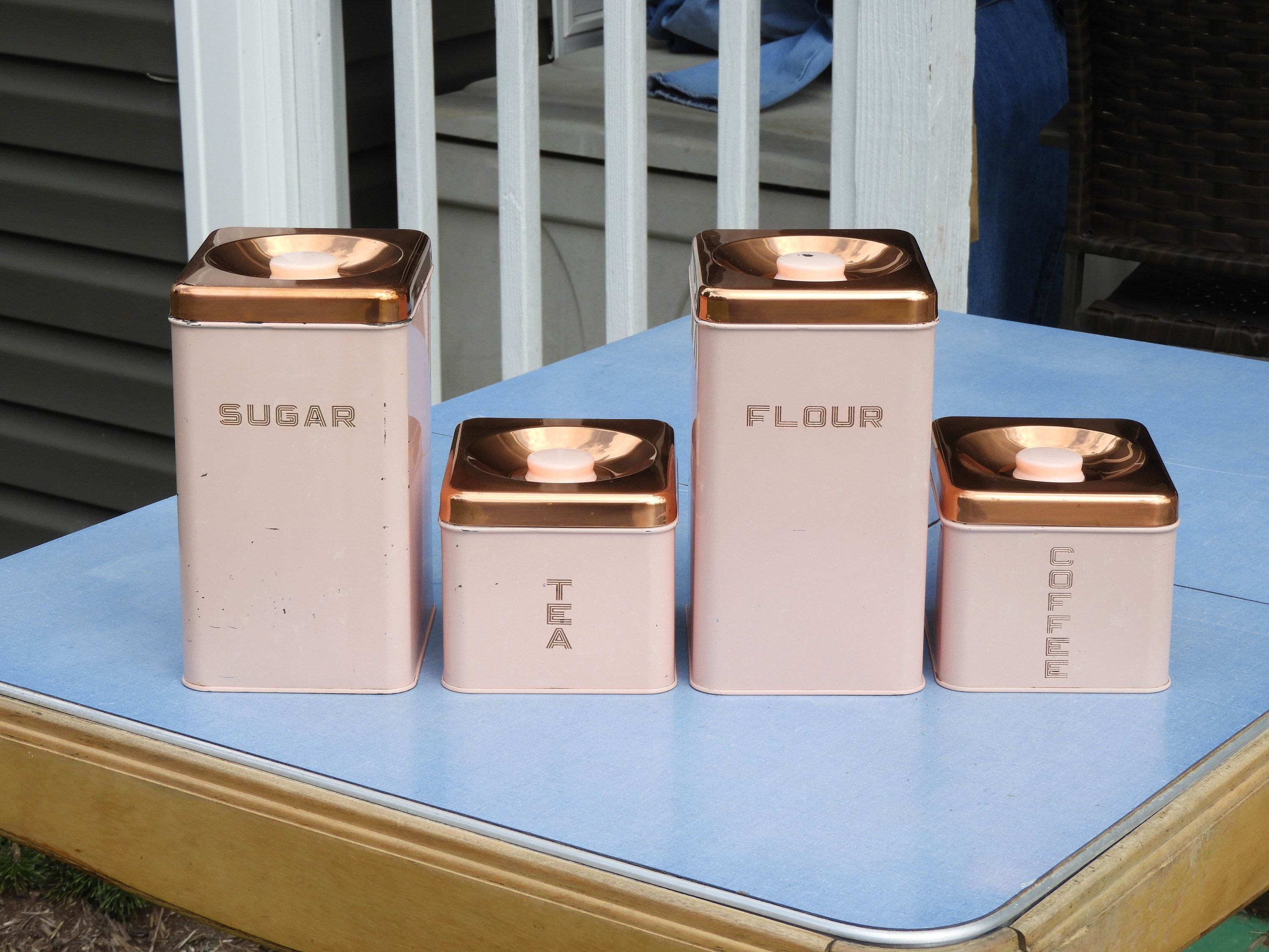 Vintage Kitchen Canisters 4 Pink Copper Lincoln