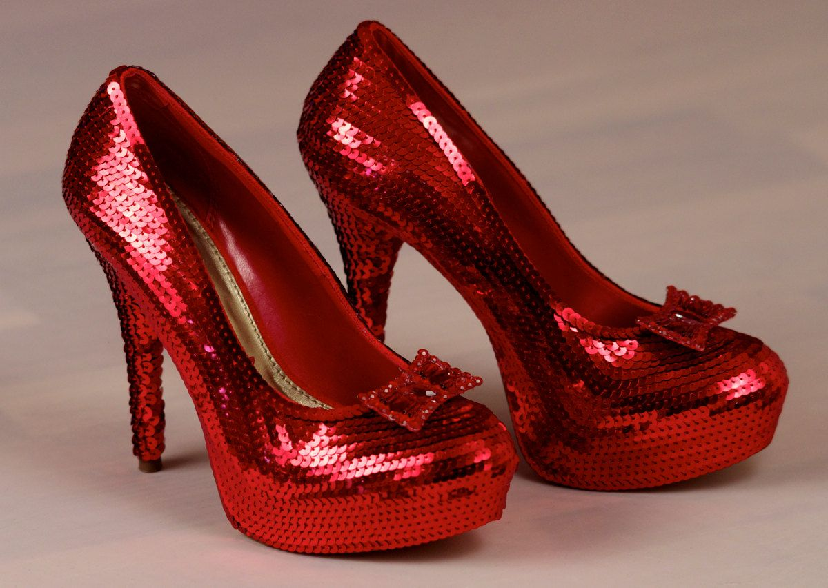 Stunning Sequin Red and Black High Stilettos Heel Pumps Shoes ...