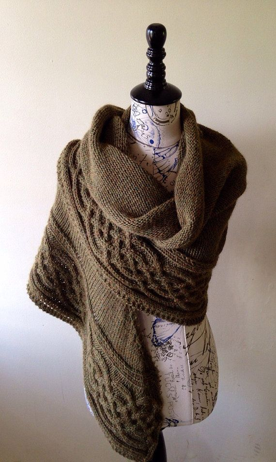 Celtic cabled shawl, blanket scarf, wool and alpaca shawl, cape poncho, winte...