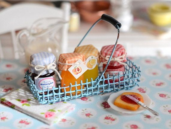 Miniature Shabby Jam Basket by CuteinMiniature on Etsy