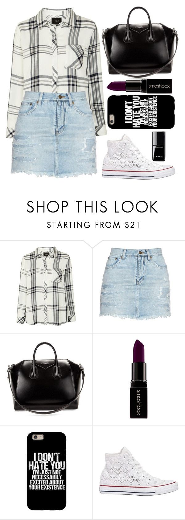 """Untitled #241"" by barijeziberi ❤ liked on Polyvore featuring Rails, Yves Saint Laurent, Givenchy, Smashbox and Converse"