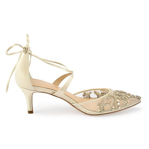 60ecca1f4321 Comfortable Champagne and Gold Low Heel crystal embellished and beaded  wedding shoes with ankle stra
