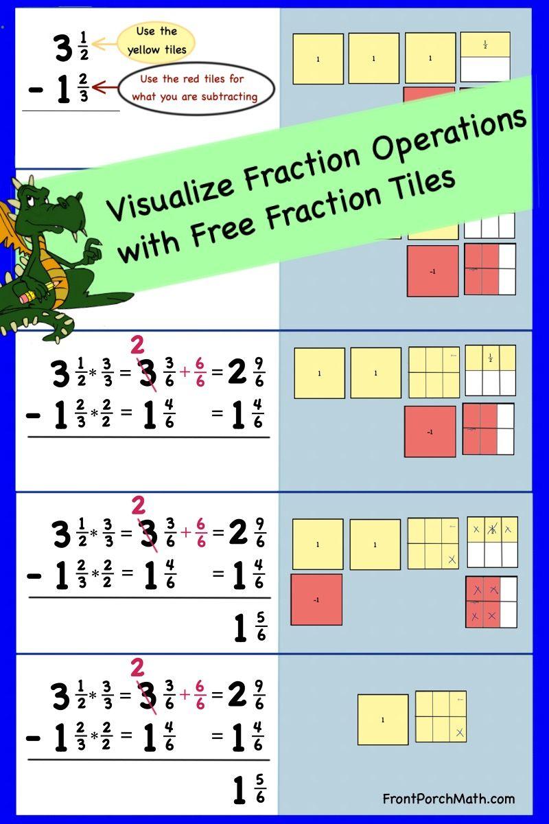 Free Fraction Tiles Fractions Fractions Worksheets Algebra Teacher