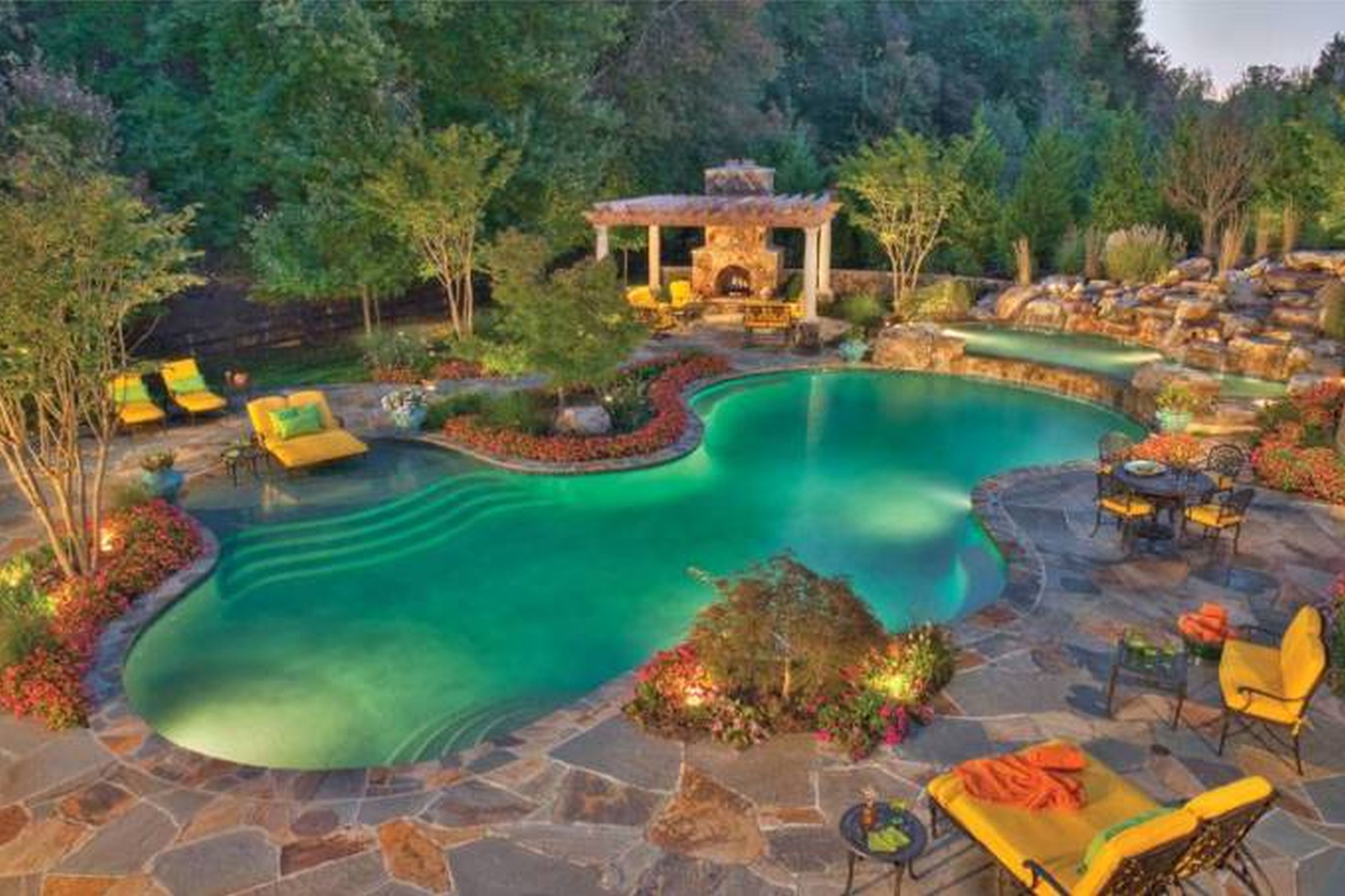 swimming pool incredible small backyard pool design with fresh green water and natural stone tile ground with modern lounge chairs at every pool corner and - Swimming Pool Landscape Designs