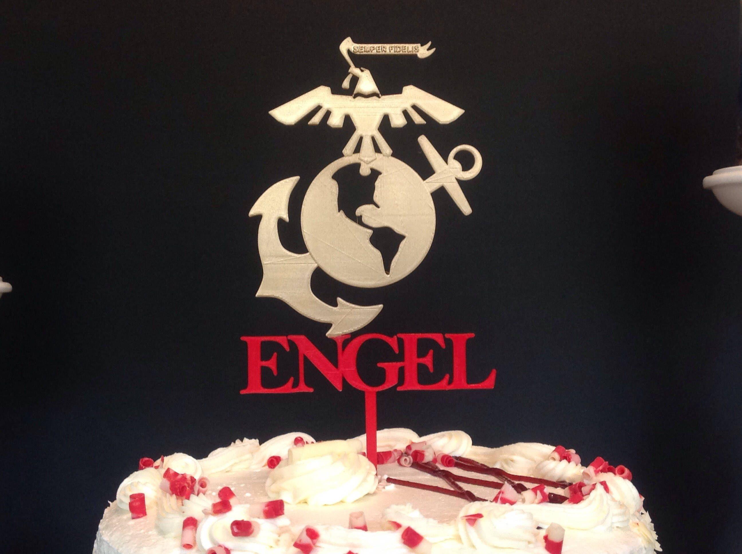 Custom US Marine Corps Insignia Logo Cake Topper Cake