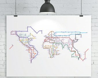 Affiche art poster 50 x 70 cm carte du monde en stations de dco world map print subway map tube map metro map map of the world art print size x x all sizes are approx gumiabroncs Gallery