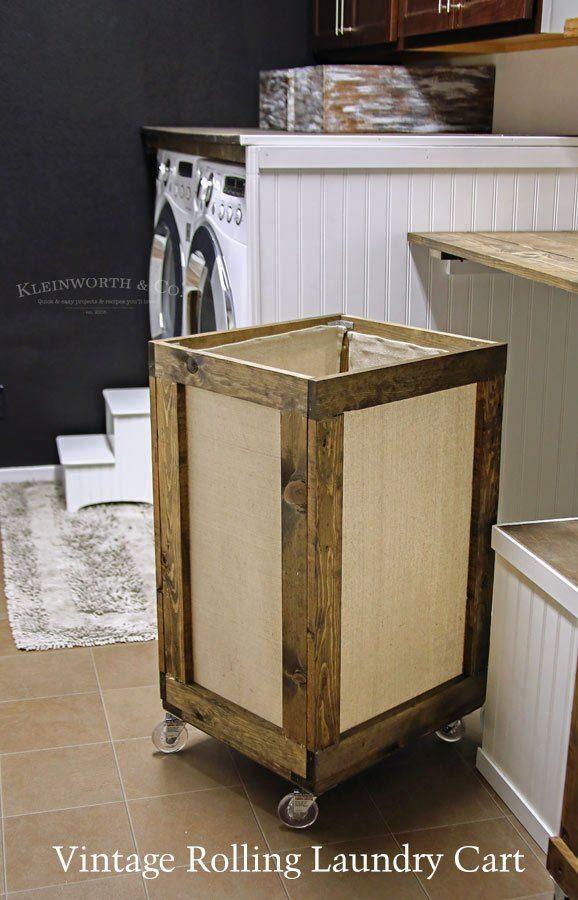 Vintage Rolling Laundry Cart Laundry Hamper Laundry Decor