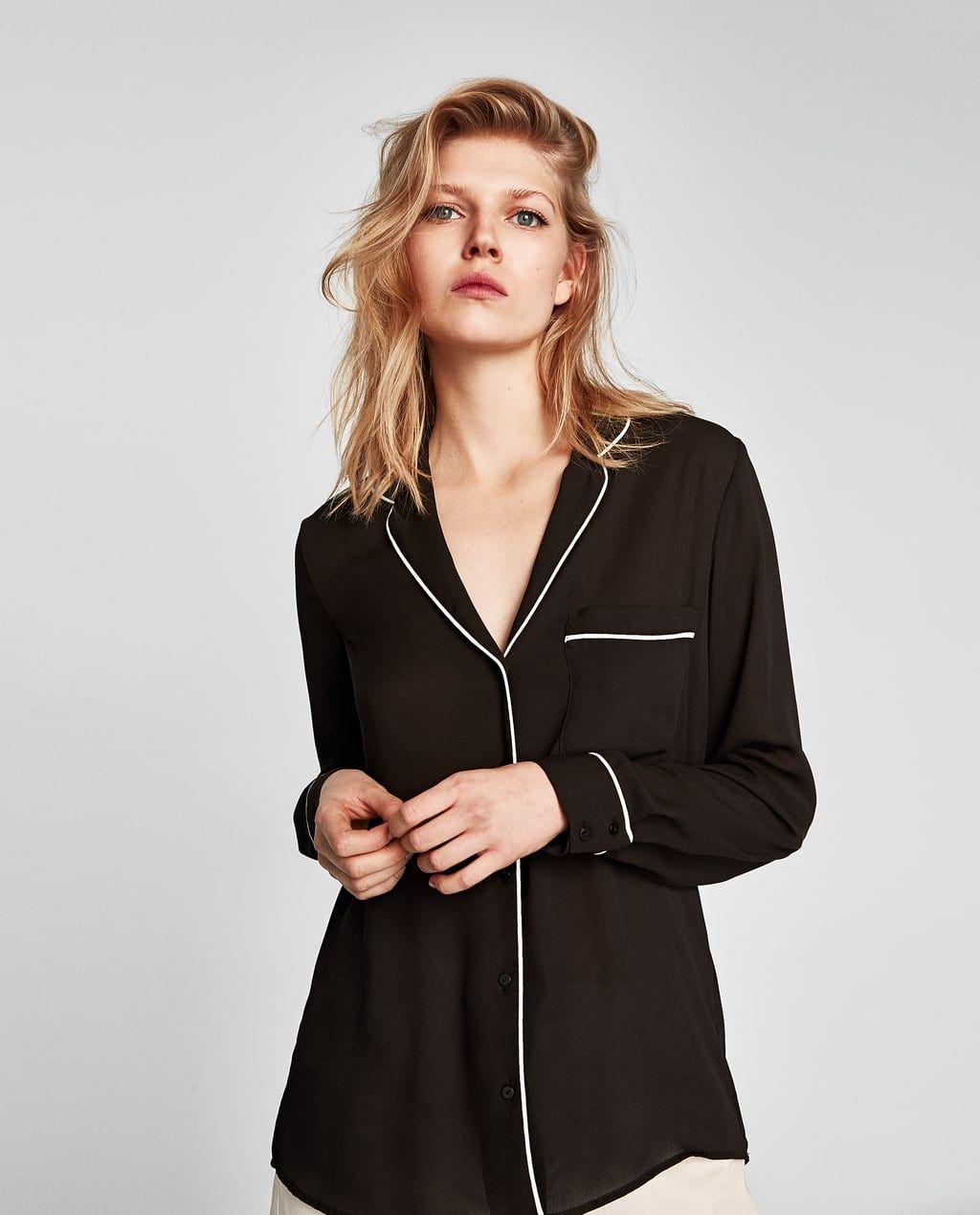 Zara Dan 2 Biyeli Pijama Tipi Gomlek Resmi Pajama Shirt Womens Shirts Pajamas