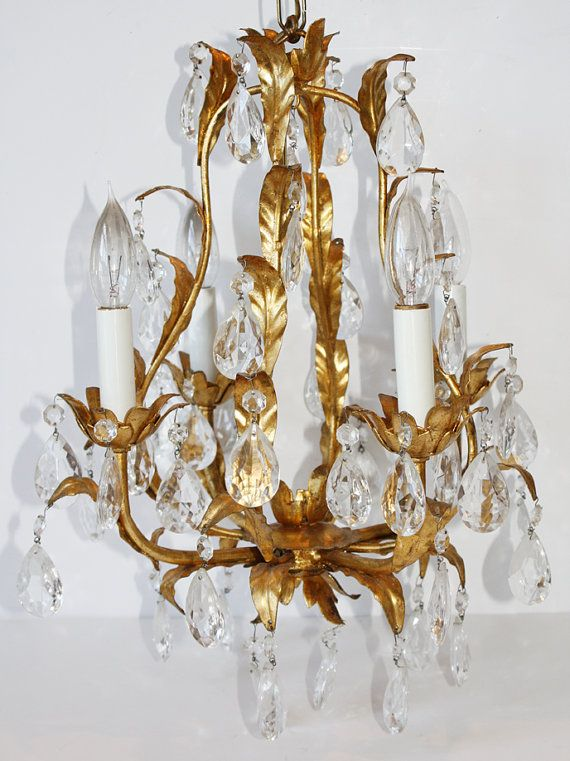 Antique Italian Tole Crystal Prisms Italian Chandelier, Gold Chandelier, Vintage  Chandelier, Crystal Chandeliers - Antique Italian Tole Crystal Prisms Chandeliers, Sconces, Italian
