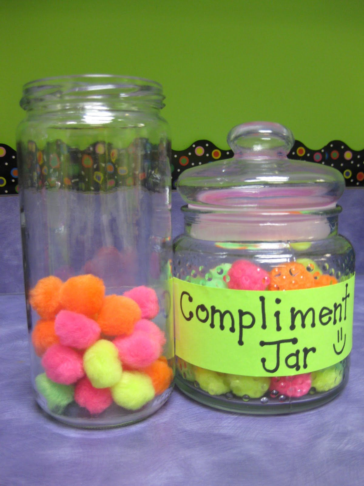 If your class gets a compliment on their behavior from another teacher, they get to put a pom-pom in the glass and they get a class reward when it fills up.