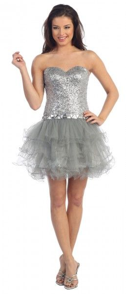 Short Chiffon Ruffles Cocktail Formal Sexy Sequin Bodice Prom Homecoming Dress