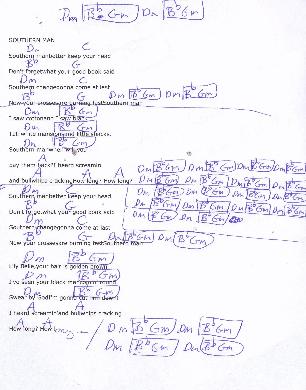 Southern Man Neil Young Guitar Chord Chart Guitar Pinterest