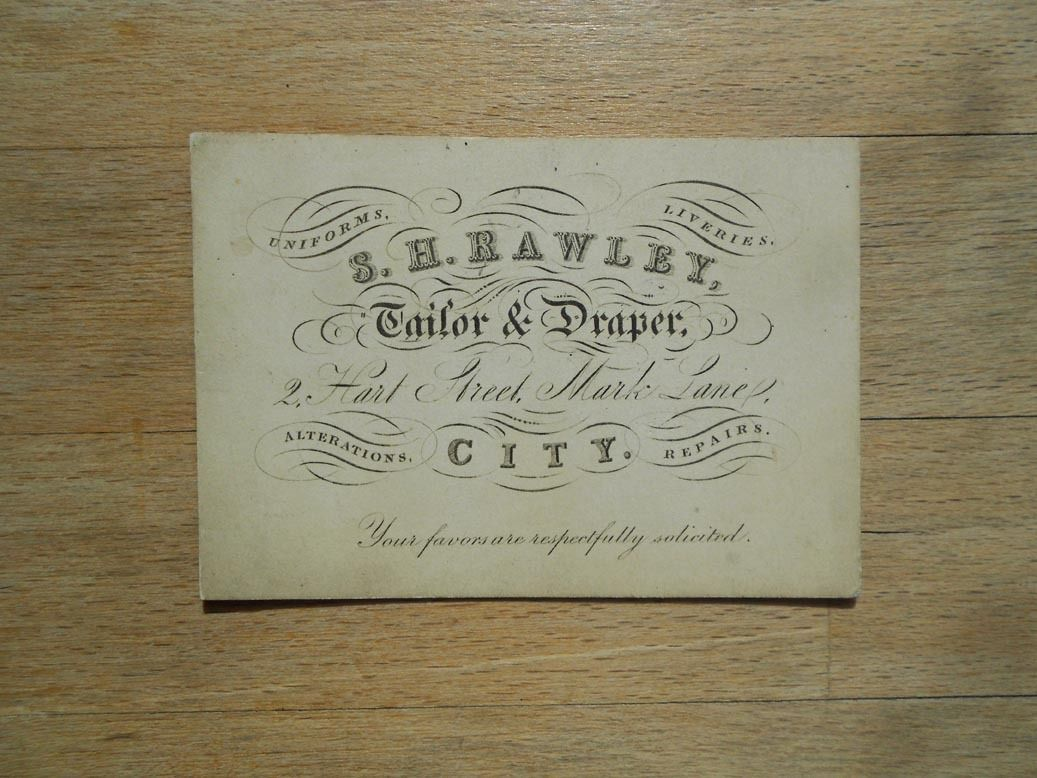 Antique business card S.H.Rawley, Tailor & Draper, City London ...