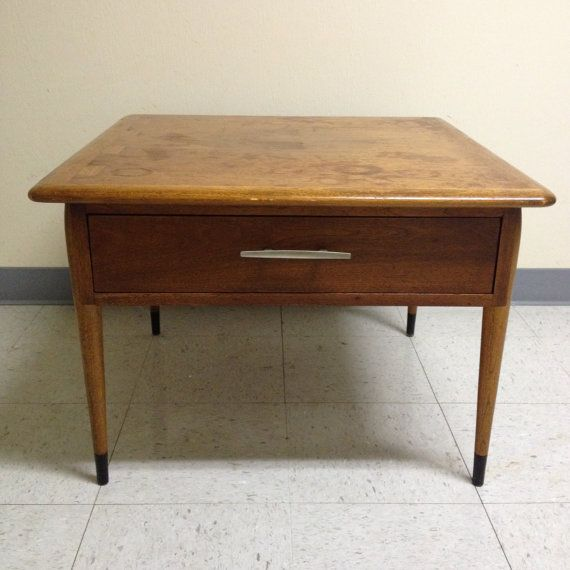 vintage mid century lane acclaim square wood side end table with drawer 168